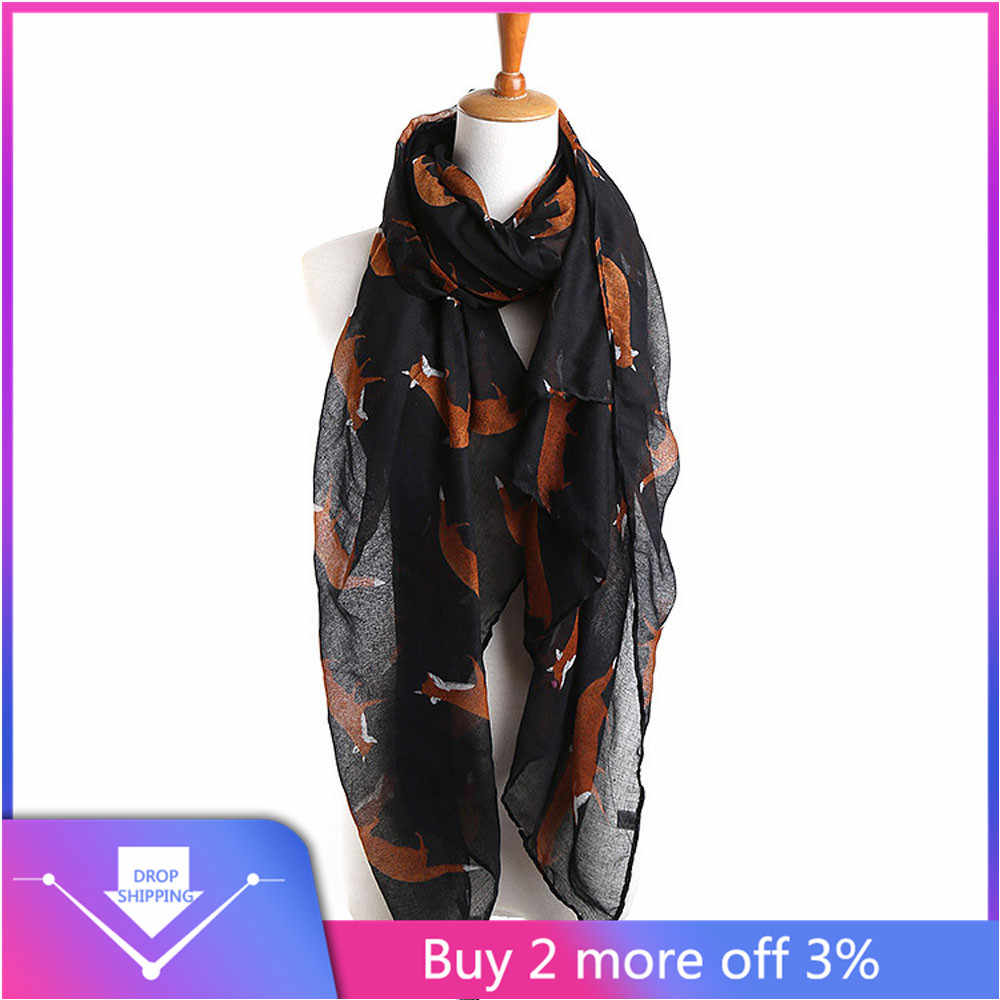 Pretty Womens Soft Voile Stole Chiffon Neck Shawl Wraps Scarf Scarve Cat Print