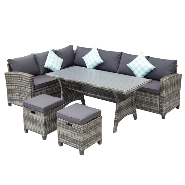 5 Pieces Outdoor Furniture Rattan Chair & Table Patio Set  4