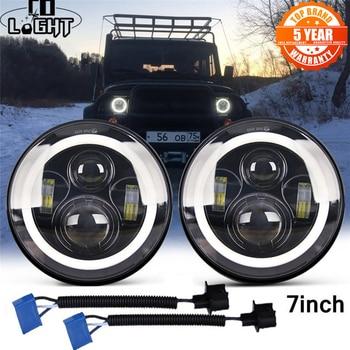 цена на CO LIGHT 7 Inch LED Headlights DRL Hi/Lo Beam 50W 30W Halo Ring Amber Angel Eye For Niva Motorcycle Lada Offroad 4x4 UAZ 12V 24V