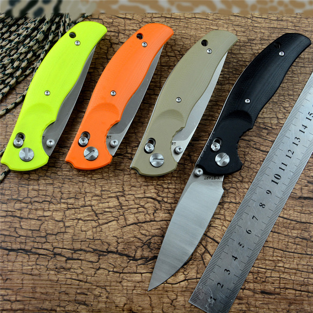 JIN02 Knife YSTART Flipper Pocket Knives D2 Folding Blade Axis System G10 Handle Black Orange and Khaki Camping Outdoor Tools