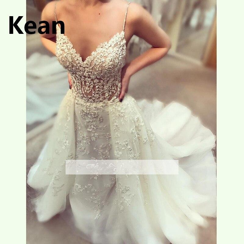Detachable Train Wedding Dresses Spaghetti Straps V-Neck Lace Illusion Vestido De Noiva Dubai Arabic Robe De Mariee New Arrival