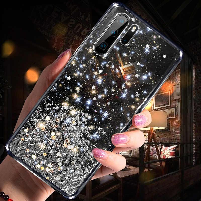 بلينغ بريق حافظة لهاتف Huawei P20 لايت P30 السيليكون الكريستال الترتر لينة غطاء لهواوي P30 لايت P20 الموالية شفافة جراب هاتف
