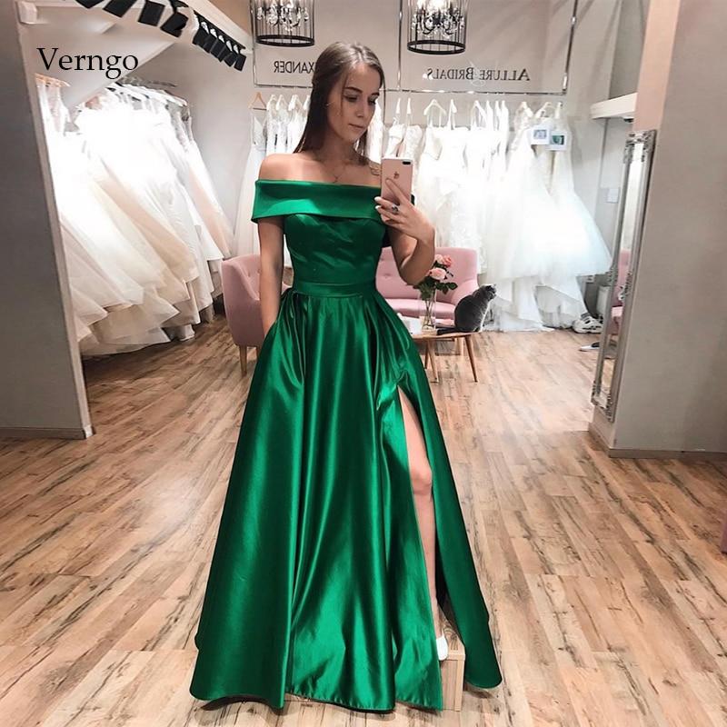 Verngo Green Evening Dresses Long Sexy Side Slit Satin Formal Dress 1019 Fashion Prom Dress Party Vestido Largo