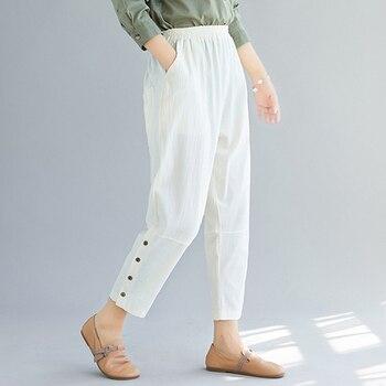 2020 Summer White Black Trousers Women Cotton Hemp Harem Pants Loose Ladies Designs Elastic Waist Casual