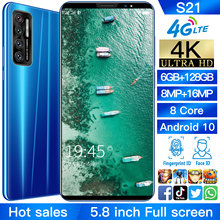 S21 5.8Inch Android10 Mobilephone Global Version 4500mAh 8+256G 8+16MP HD Full Screen Face Unlock Dual SIM 4G Network Smartphone
