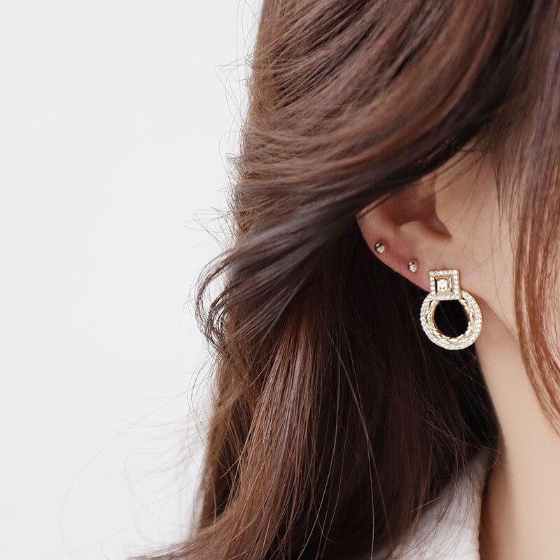 14k or réel exquis cercle CZ femmes boucles d'oreilles haute qualité charme Mircro incrusté AAA zircone boucle d'oreille cadeau d'anniversaire 2