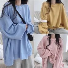T-shirt ample à manches longues de couleur unie, T-shirt de loisirs à col rond pour femmes coréennes, de très grande taille, nouvelle collection 2021