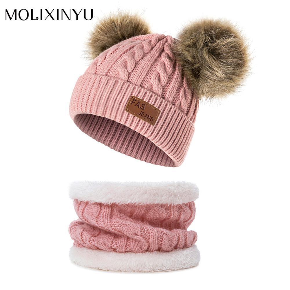 Шапка с помпоном и шарф MOLIXINYU для маленьких мальчиков и девочек, детская зимняя шапка, вязаная шапка для девочек, плотная детская шапка, тепл...