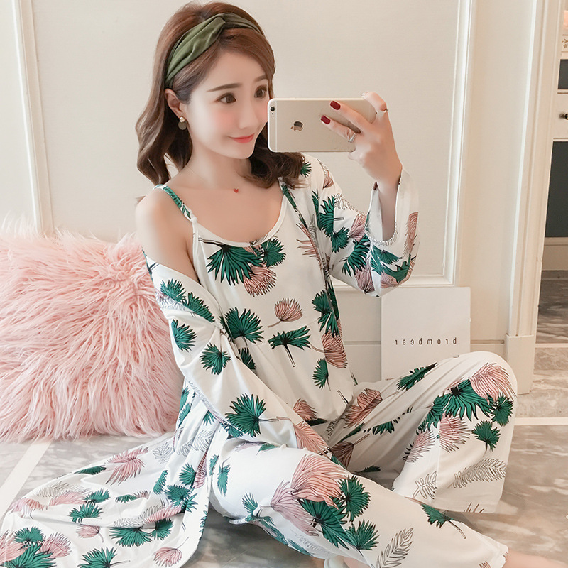 Spring And Autumn WOMEN'S Pajamas Cute Camisole Japanese-style Long Sleeve Kimono Fresh Students Large Size Three-piece Set-Home