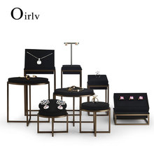 Oirlv New Metal Jewelry Display Stand Set Ring Necklace Bracelet Display Holder Shelf with Leather Jewelry Organizer Showcase