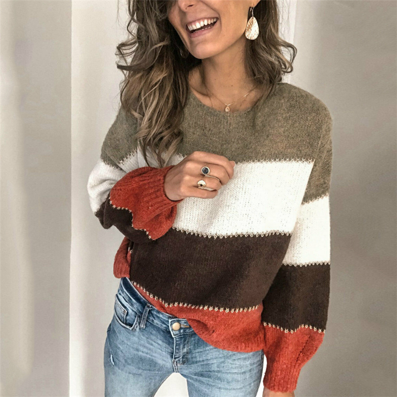 Loose Casual Knit Sweater Women Autumn 2019 Female Long Sleeve Striped Knitted Sweaters Femme Winter Cloth