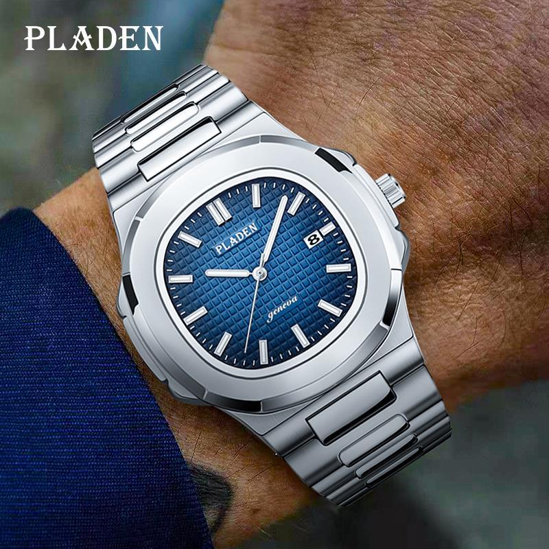 Часы наручные PLADEN Мужские кварцевые, роскошные модные, с ремешком из нержавеющей стали, водонепроницаемые синие с градиентом, в деловом сти...