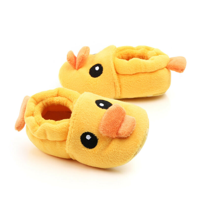 Cute Cartoon Little Yellow Duck First Walkers Baby Infant Winter Warm Prewalker Newborn Toddler Soft Fleece Sole Shoes 0-18M