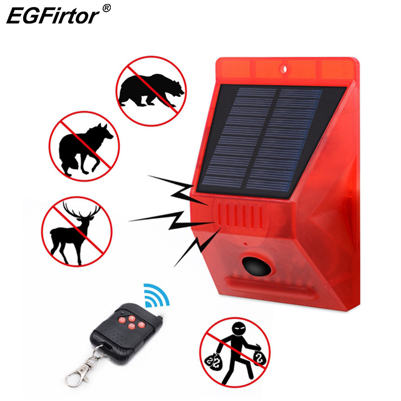 PIR Motion Sensor Solar Alarm Lamp Anti-Pet Function Yard Garden Siren With Strobe Remote Control Security Solar Power Light