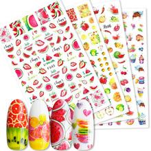 Frühling Sommer Obst Sliders Nägel Wassermelone Erdbeere Orange 3D Nagel Aufkleber Decals Neue Design Dekoration Folie Tipps cheap Eine Einheit CN (Herkunft) 6 4cm*5 3cm 49717 Sticker Aufkleber Paper 1 Pc 3D Nail Sticker Fruit Strawberry Watermelon