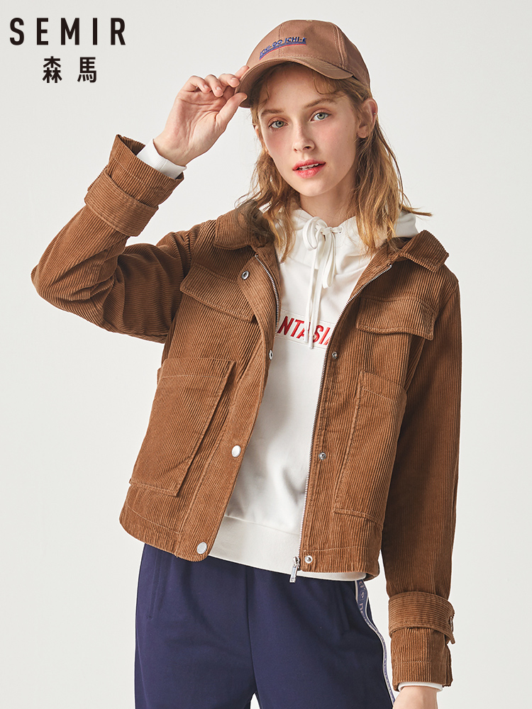 SEMIR Jacket Women 2019 Winter New Corduroy Hooded Jacket Korean Version Retro Trend Ins Short Coat For Woman