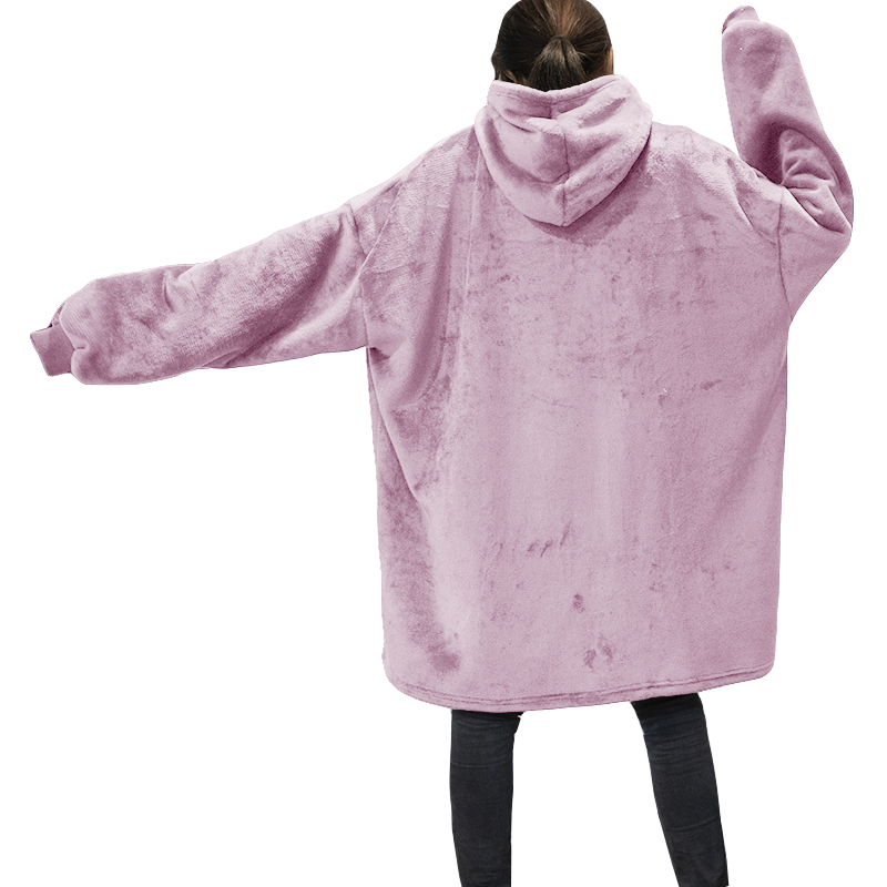 Winter Warm TV Hooded Blankets Sofa Cozy Coral Fleece Hoodie Blanket Adults Kids Bathrobe Weighted Blanket with Sleeves Outwears-4
