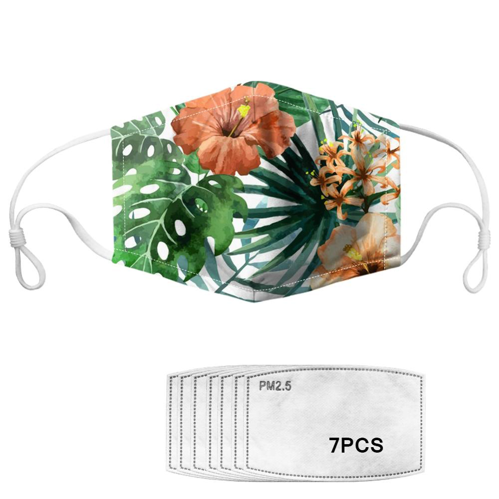 Tropical Leaves/ Floral Pattern Women Face Masks With 7pcs Filters Windproof Reusable Masks Breathable Soft Lady Mask