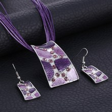 Fashion Gem Square Enamel Jewelry Set Silver Color Painting Pendant Necklace Earrings Bridal Jewelry Sets for Women Wedding