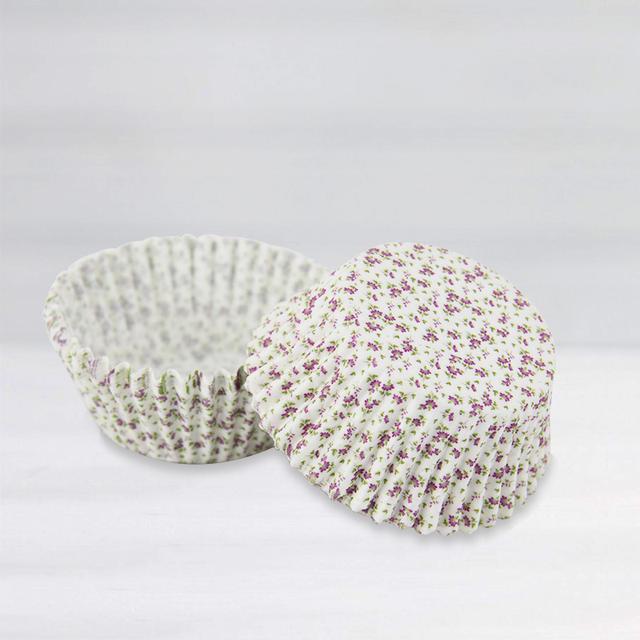 Purple Flower Printed Cupcakes Baking Bowl Set 40 Pcs