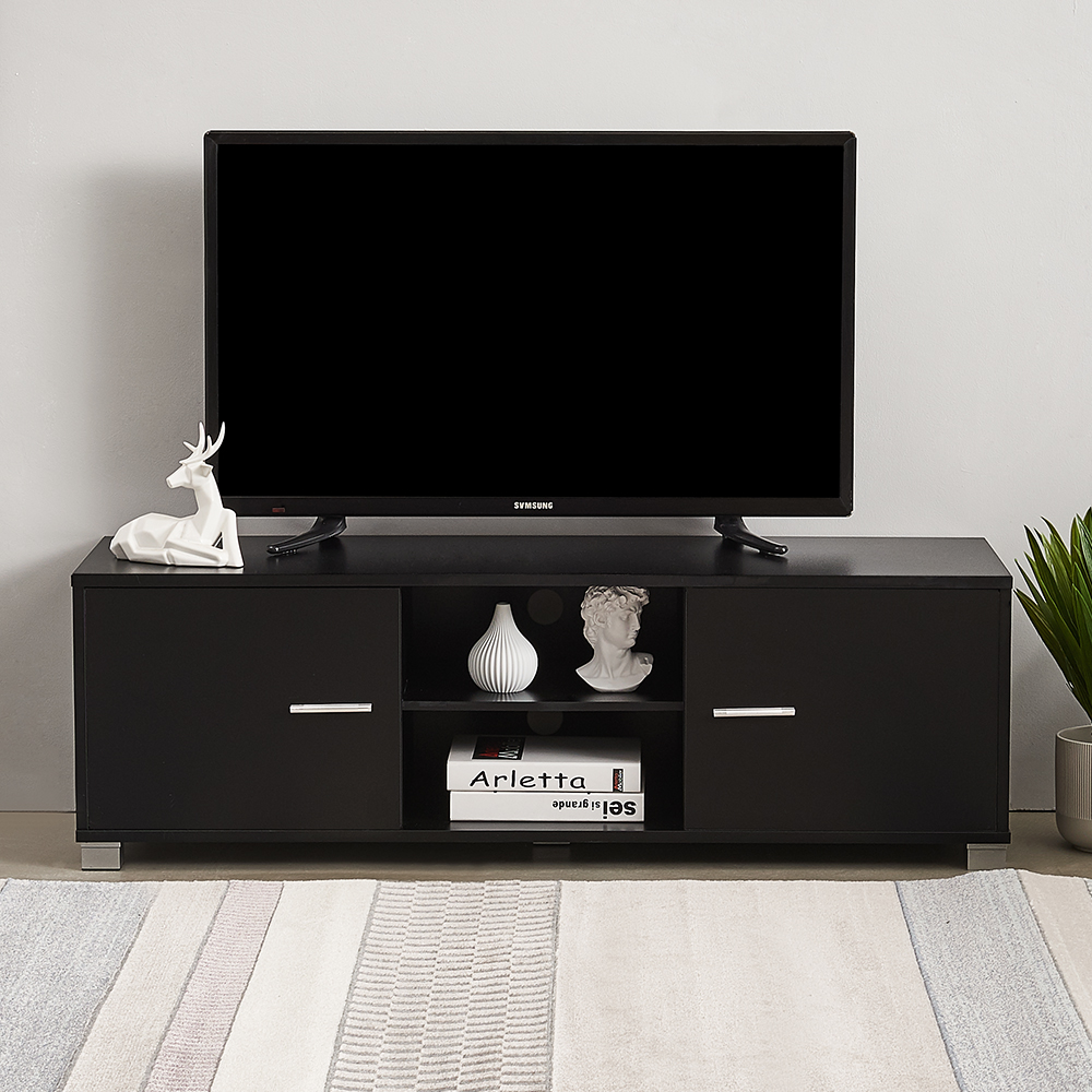 Panana Modern 120 Cm TV Table Unit With 2 Cabinets Office Display Matt Table Black White