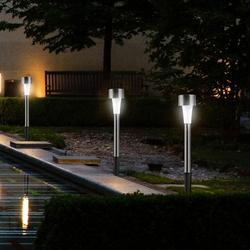 10 pçs/lote led solar gramado luz de aço inoxidável ao ar livre energia solar decking luzes à prova dwaterproof água ip65 jardim paisagem lâmpada prado