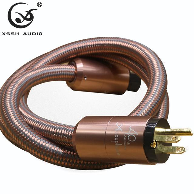 Hi End Hifi amplifier OFC Pure Copper Plated Gold Aluminium alloy Shell AC US EU IEC plug power Cable Cord Wire