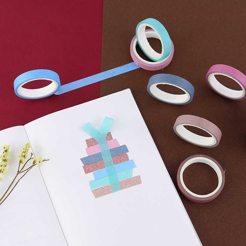 5 unids/lote Simple cinta de Washi conjunto Color sólido enmascarar decorativa cinta Scrapbooking DIY estudiante papelería ESCUELA DE