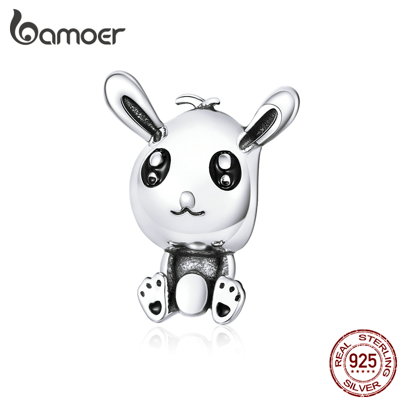 Bamoer Easter Series Rabbit Animal Metal Charm For Original Charms Bracelet Or Bangle Festival Gifts For Girl Jewelry SCC1467