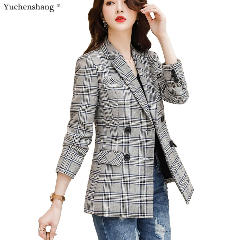 2019 New Women Plaid Blazer With Pockets Double Breasted Long Sleeve Casual Coat Female Outerwear Jackets