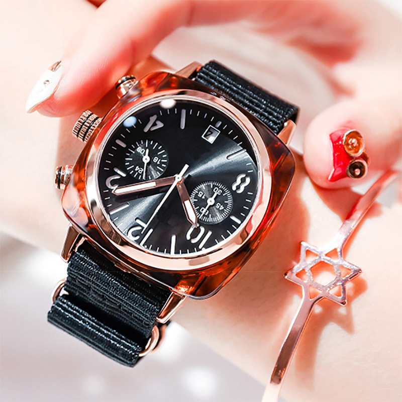 Zhoudongyu Celebrity Style Watch Canvas Watch Strap Square Watch Students COUPLE'S Watch Korean-style Simple Shaking Voice Netwo