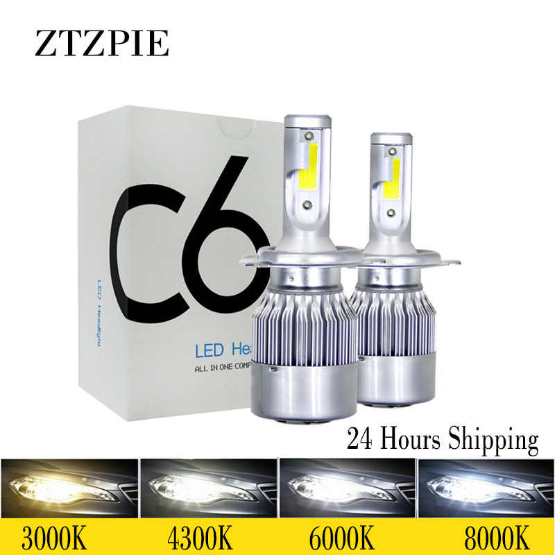 ZTZPIE 6000K 8000K 12V C6 H3 H7 H1 12000LM 9006 H13 H4 H11 headlight Led Bulbs Bullet Super Bright Turbo Fan 7 Blades  Car Light