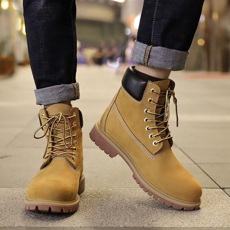 Botas de cuero genuino de lujo para hombre, botas de invierno para hombre, botas de nieve de tobillo con cordones, botas de piel de vaca de primera capa a prueba de agua amarillas zapatos - 5