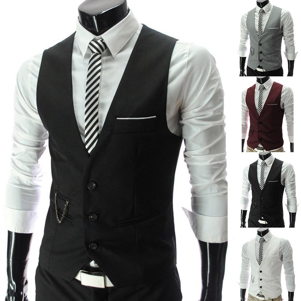 H3411b7a9d4d449e595ef8e69b15f3df5m - 2020 New Arrival Casual Sleeveless Formal Business Jacket Dress Vests For Men Slim Fits Mens Suit Vest Male Waistcoat Homme