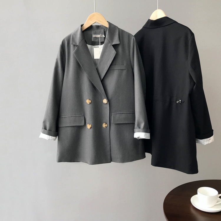 Autumn New Will Definitely Enter The Advanced Drawstring Womens Tops Ins Style  H-shaped Lapel Double-breasted Suit Jacket