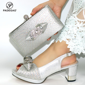 Silver Color Shoes and Bag to Match in Heels 9cm Comfortable Lady Shoes Matching Bag for Party with Shinning Crystal