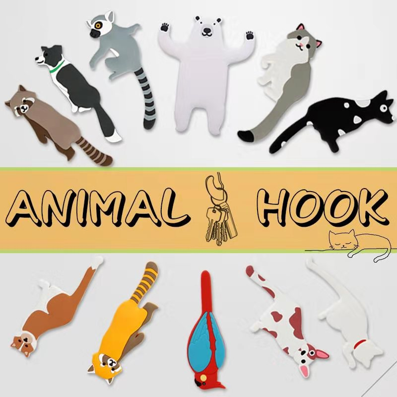 Cartoon Animal Family Decorative Hook Cat Dog Bear Bird Fridge Whiteboard Sticker Refrigerator Kids Gifts Home Decoration Hook