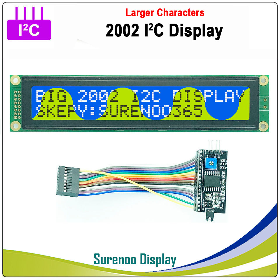 Serial IIC / I2C / TWI 2002 202 20*2 Larger Character LCD Module Display Yellow Green Blue With Backlight For Arduino