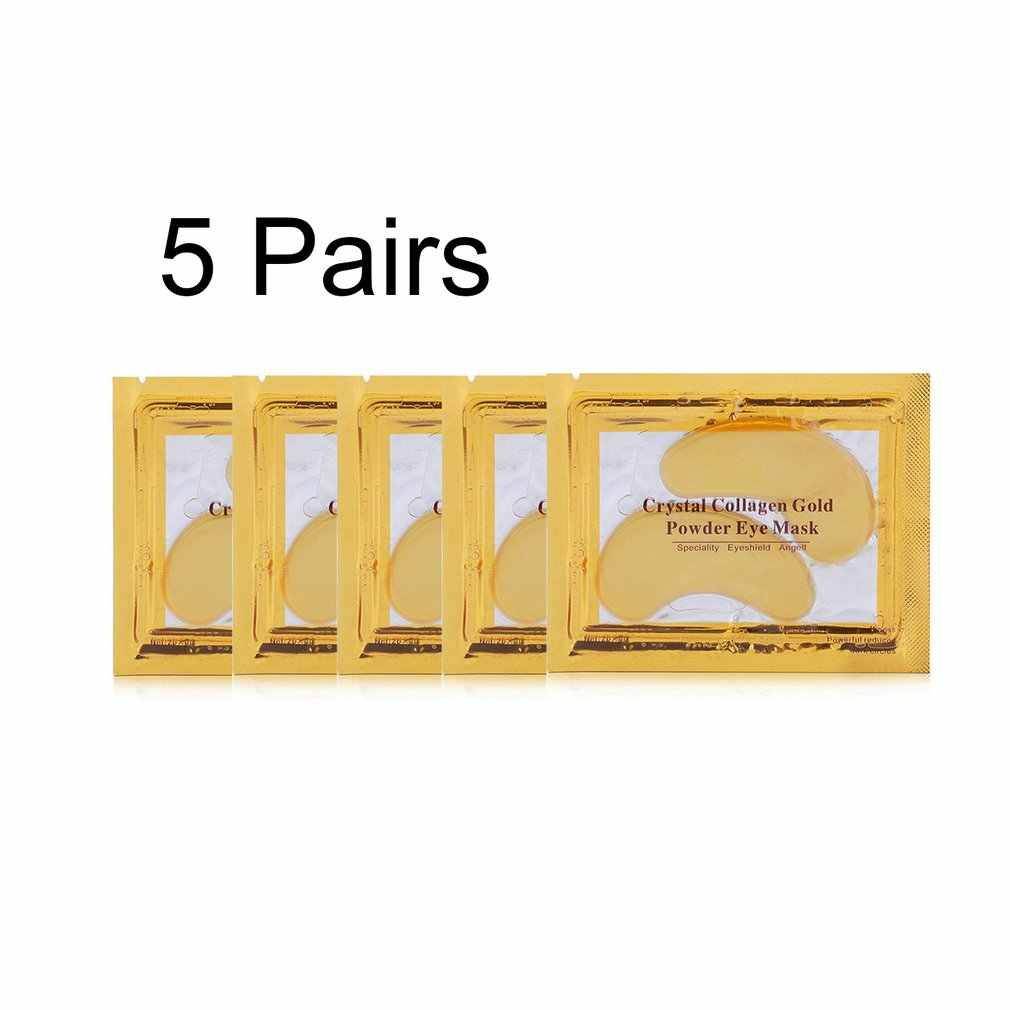 5 Pairs Natural Gold Crystal Collagen Eye Care Eye Masks Moisturizing Anti-Wrinkle Remove Black Eye Patches Massage Relax
