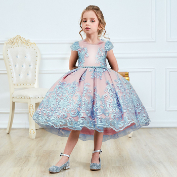 Princess Kids Dresses for Girls Tutu Lace Flower Embroidered Ball Gown Children Wedding Party