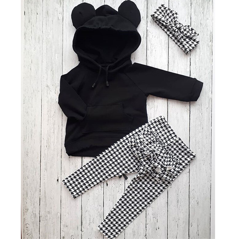 Autumn Winter Toddler Kids Baby Girl Clothes Set 3PCS 3D Ear Black Hooded Pullovers Tops+Ruffles Plaid Pants Outfits Sets
