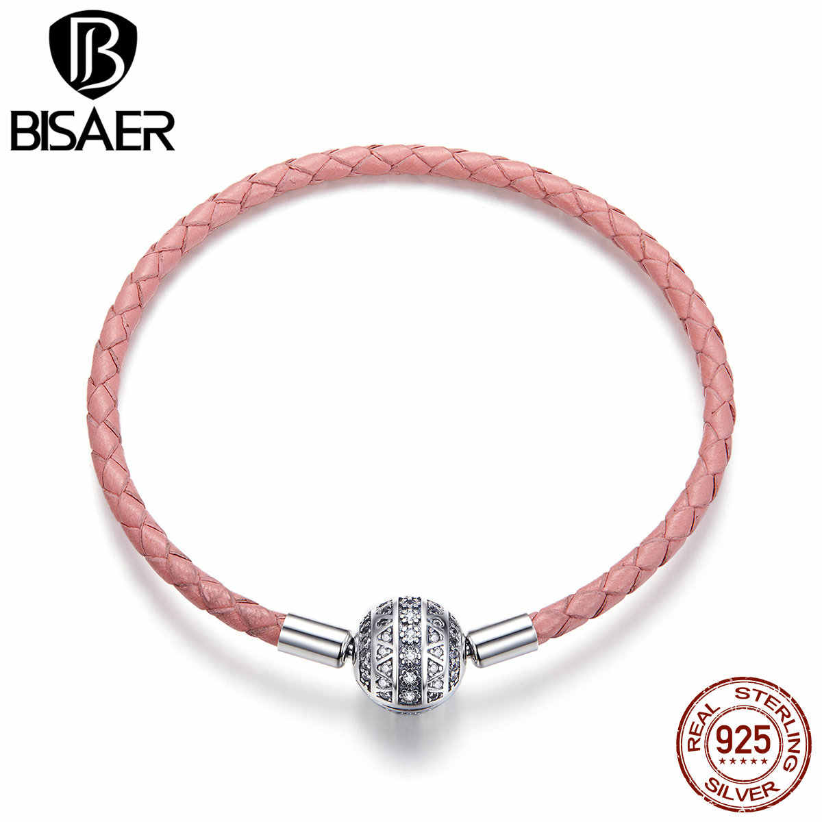 BISAER prawdziwe 925 srebro różowy sznureczek skórzane bransoletki dla kobiet wyczyść CZ okrągłe zapięcie bransoletki z rzemykami biżuteria srebrna ECB114