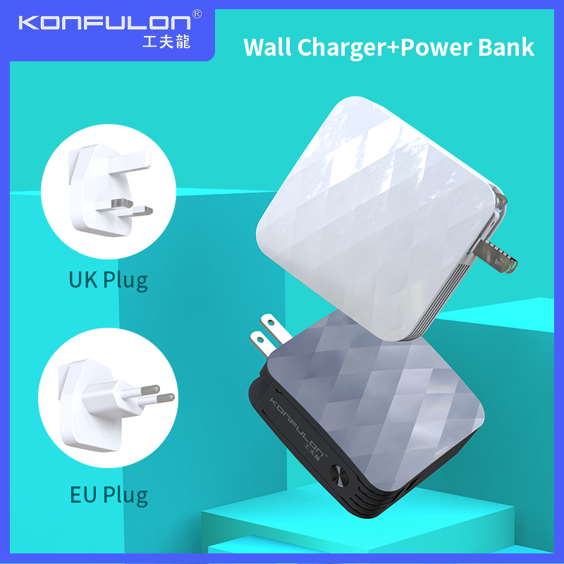 Power Bank Dual USB Externe <font><b>Batterie</b></font> 2,1 EINE Schnelle Lade Tragbare Wand Ladegerät US UK EU Stecker Slim Power 2 in1For iPhone image