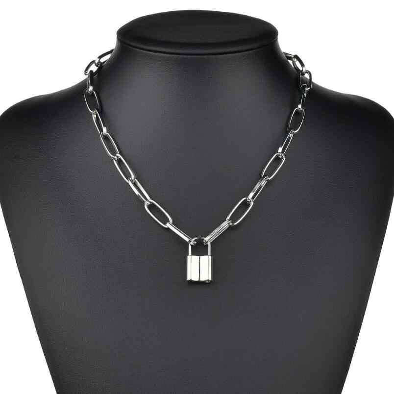Più nuovo Hip Hop Multi Strati della collana della catena con la serratura del cuore delle donne/uomini punk rock lucchetto pendente della collana emo grunge goth monili