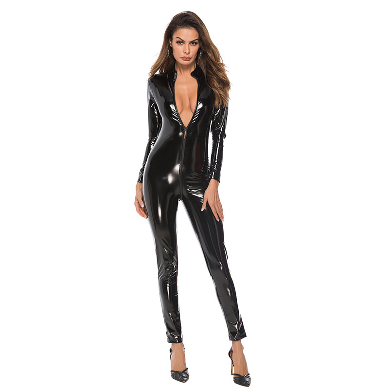 Sexy Faux Leather Latex Catsuit Smooth Wetlook Jumpsuit Front Zipper Erotic Jumpsuit Elastic Red Black PU Bodysuit