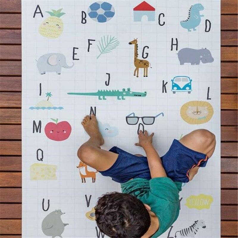 INS bébé tapis de jeu tapis rampant enfants tapis enfants tapis d'apprentissage antidérapant Alphabet Animal développement tapis Gym sol doux 1.5*1M