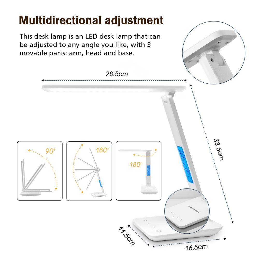 LAOPAO QI Wireless Charging LED Desk Lamp 10W With Calendar Temperature Alarm Clock Eye Protect Reading Light Table Lamp 2020 3
