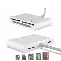 Lector de tarjetas C76 para iPhone CF XD 5 en 1, USB3.0 conector Lightning, adaptador de tarjeta XD de cámara TF SD de alta corriente de 500mA