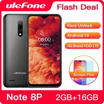 Перейти на Алиэкспресс и купить Чехол-накладка Ulefone Note 8P смартфон Android 10 2 ГБ + 16 Гб 4 ядра 5,5 дюймов тройной Камера 4G сотовый телефон мобильный телефон Android