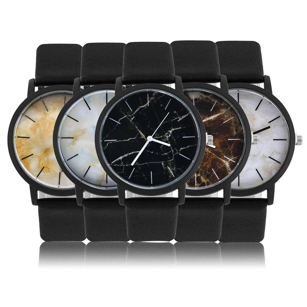 Men Women Unisex Fashionable Design Retro Leather Strap Wrist Watches Vintage Marbling Pattern Quartz Wrist Watch Relogio